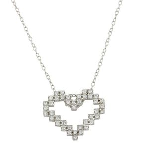 Sterling Silver 925 Rhodium Digital Heart necklace